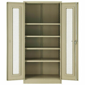 Assembled Storage Cabinet With Expanded Metal Door 36x18x78 Tan