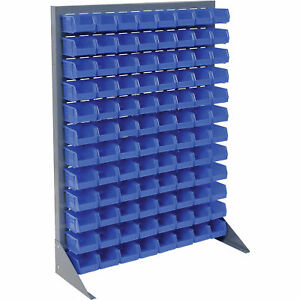 Louvered Bin Rack With 96 Blue Stacking Bins 35 w X 15 d X 50 h