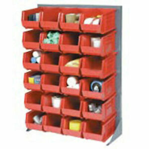 Louvered Bin Rack With 96 Red Stacking Bins 35 w X 15 d X 50 h