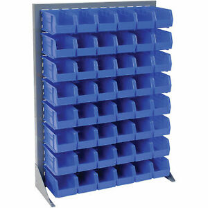 Louvered Bin Rack With 48 Blue Stacking Bins 35 w X 15 d X 50 h