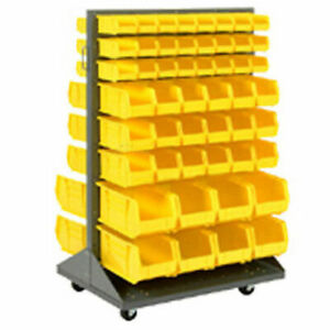Mobile Double Sided Floor Rack With 64 Yellow Bins 36x25 5x54