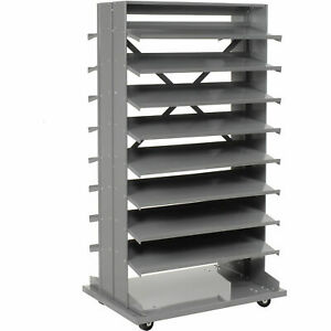 Mobile Double Sided Bin Rack Without Bins 36x26x65
