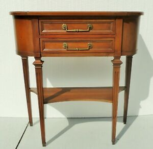 Antique Vtg Hekman Oak Wood 2 Drawer Console Foyer Entry Side End Table Usa