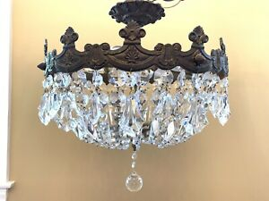 Vintage Semi Flush Mount Crystal Beaded Basket Chandelier Ceiling Fixture 17