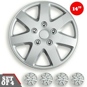 Set 4 Hubcaps 14 Wheel Cover Silverstone Silver Universal Fit Easy To Install