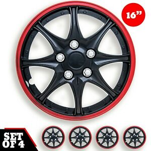 Set 4 Hubcaps 16 Wheel Cover Daytona Black Red Abs Easy To Install Universal