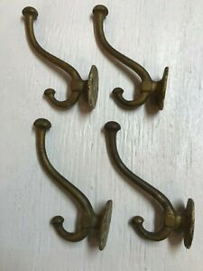 Vtg Lot Of 4 Large Brass Plated Cast Iron Coat Hooks Hangers Hall Tree Real Deal