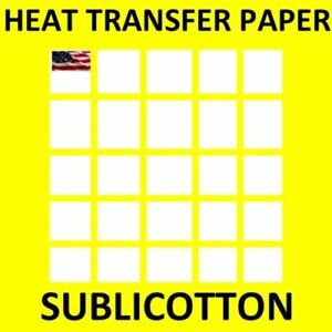 Heat Transfer Sublicotton Sublimation Paper 200 Sheets 8 5 x11 For Light Shirts