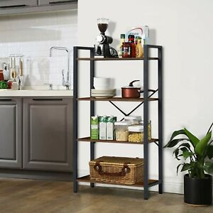4 Tiers Ladder Bookshelf Bookcase Shelf Metal Frame Vintage Storage Rack Black