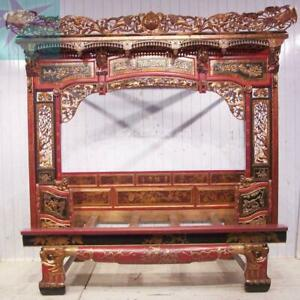 Chinese Bed Canopy Wedding Opium Intricately Carved Antique Red Lacquer