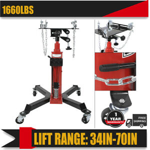 Adjustable Height Hydraulic Transmission Jack 2 Stage Shop Car Lift 1660lbs