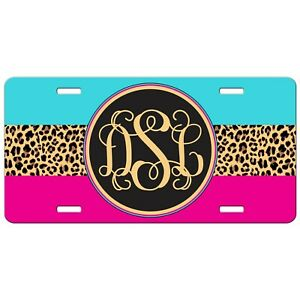 Pink Turquoise Leopard Print License Plate Monogram Personalized Mothers Day