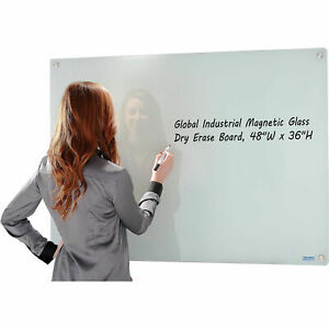 48 X 36 Magnetic Glass Dry Erase Whiteboard With Markers And Eraser White