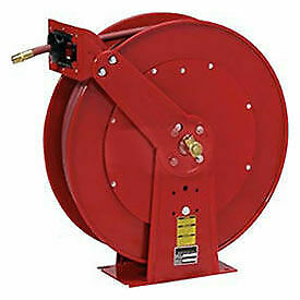 Spring Retractable Hose Reel Dual Pedestal All Steel With Hose 1 2 X 100