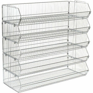 Stackable Wire Storage Bin Rack 48 w X 20 d X 45 h 5 Wire Bins