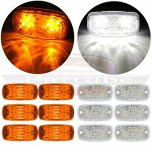 6x Amber Led 4 Inch Side Marker 12 Led Light For Pickup Truck Lorry 6x White