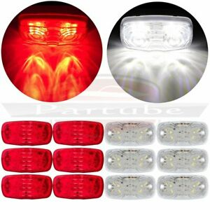 6x Led Side Marker 12 Led Light Red For Pickup Truck Lorry 6x White 4 Inch