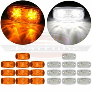 10x Amber Led 4 Inch Side Marker 12 Led Light For Pickup Truck Lorry 10x White