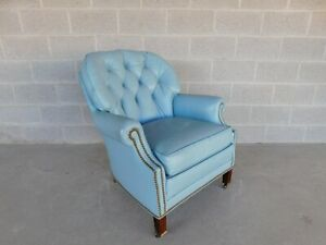 Hancock Moore Regency Style Tufted Back Leather Arm Chair