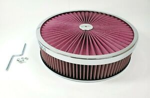 14x3 Round Super Flow Chrome 4bbl Washable Air Cleaner Assembly Offset Base