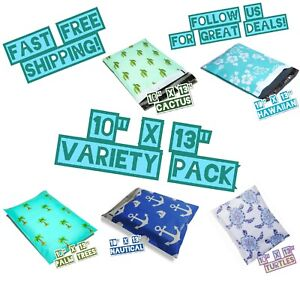 100 Mix Design 10x13 Poly Mailers Variety Pack 20 Ea Shipping Envelopes