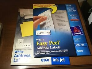 Avery 8160 5160 Ink Jet Address Labels Size 1 X 2 5 8 1020 Labels 34 Sheets