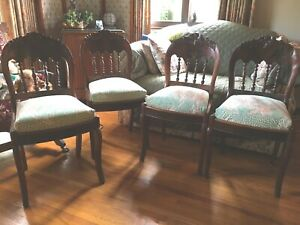 Set Of 4 Beautifully Carved Antique Walnut And Burl Accent Chairs Floral Seat