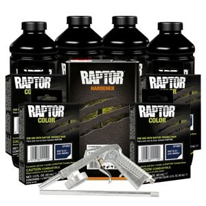 U Pol 821 4861 Navy Blue 4l Raptor Spray On Truck Bed Liner Kit W Gun