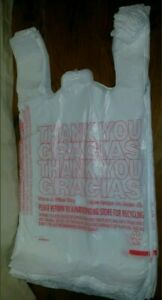 50ct Large 1 6 Thank You T shirt Plastic Grocery Shopping Bags With Handle
