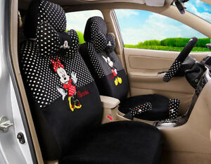 18pcs set New Women Plush Cartoon Mickey Mouse Universal Car Seat Cover Balck