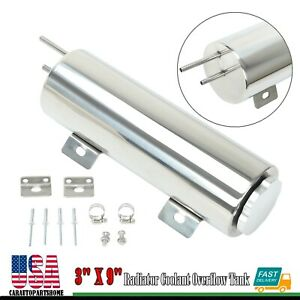 3 X 9 Polished Stainless Steel 32oz Radiator Coolant Over Flow Puke Tank Can