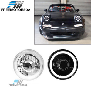 7 Inch Round Chrome With White Ccfl Halo Head Lights Lamps Conversion 2pc Set