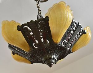 Vintage Riddle Ceiling Light Fixture With 5 Glass Slip Shades Victorian Art Deco