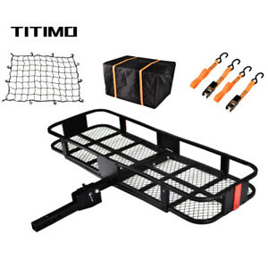 550lb Folding Hitch Mount Cargo Carrier Luggage Basket Rack Fits 2 Receiver