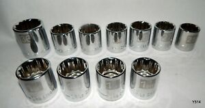 11 Chrome Craftsman Sae And Metric 12 Point 1 2 Drive Sockets