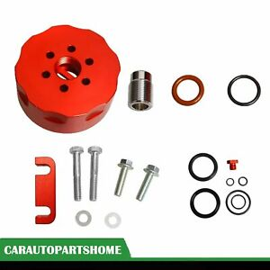 Cat Fuel Filter Adapter Spacer Bleeder Seal Red Kit Fit 2001 2006 Chevy Duramax