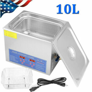 10l Digital Cleaning Machine Ultrasonic Cleaner Bath Tank Timer Stainless Steel