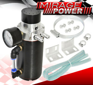 Universal Turbo Super Charger N A Cnc Oil Catch Can Breather Vacuum Tank Black