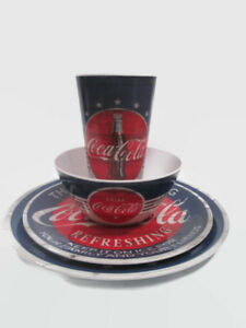 Coca-Cola Melacore 4 Place Setting Americana Dishes Plate Bowl Tumbler 16 Pieces