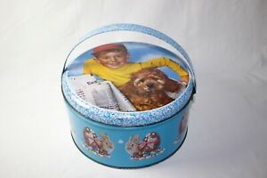 vintage tin cans metal Portuguese Easter theme - Dog - kid - Bunny's rabbits