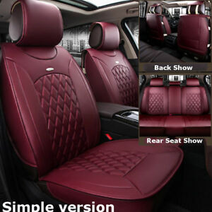 Us Wine Red 5 seat Car Microfiber Leather 5 seat Seat Covers Cushion Universal