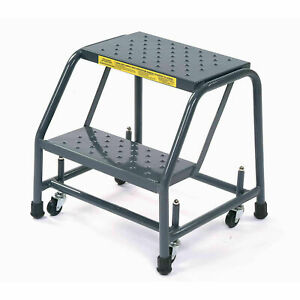 Ballymore 218p Perforated 16 w 2 Step Steel Rolling Ladder 10 d Top Step