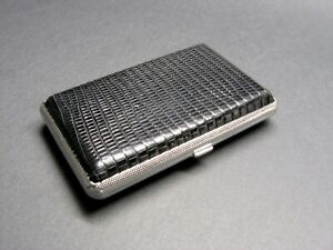 Genuine Lizard Skin Card Holder Rfid nfc Blocking Metal Box Credit Card Case