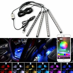 Rgb Full Color Usb Car Led Interior Under Dash Foot Well Seat Inside Lighting
