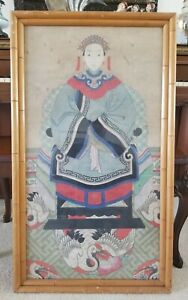 Antique Chinese Ancestral Painting 39 X22 5