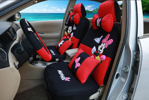 1 Sets Luxury Cute Cartoon Mickey Mouse Minnie Universal Car Seat Cover Red 801