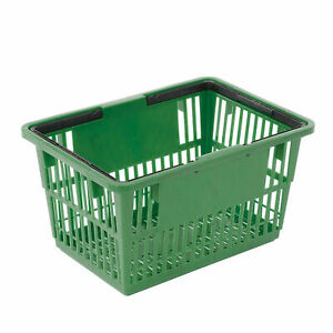 Plastic Shopping Basket With Plastic Handle Standard 17 l X 12 w X 9 h Green