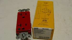 Lot Of 37 Hubbell Hbl2182r Hospital Grade Decora Duplex Outlets Red 20 Amp