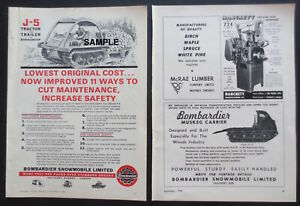 1958 1964 Bombardier Logging Tractor Print Ads 2 Rare Collectible Items