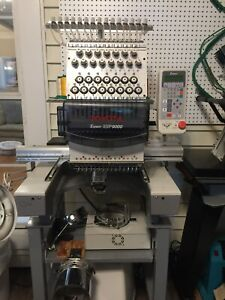 Toyota 15 Needle Esp9000 Commercial Embroidery Machine W stand And Hoopmaster
